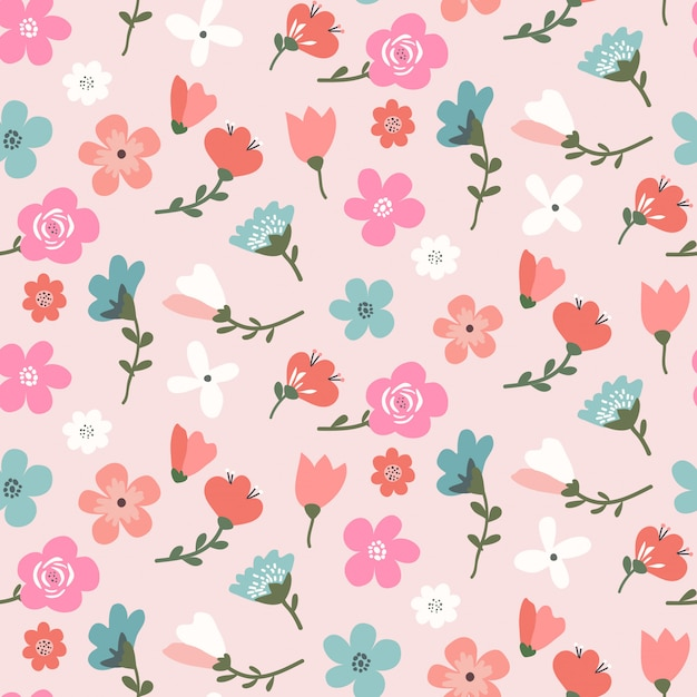 Seamless floral pattern design with cute colorful flowers Premium Vector