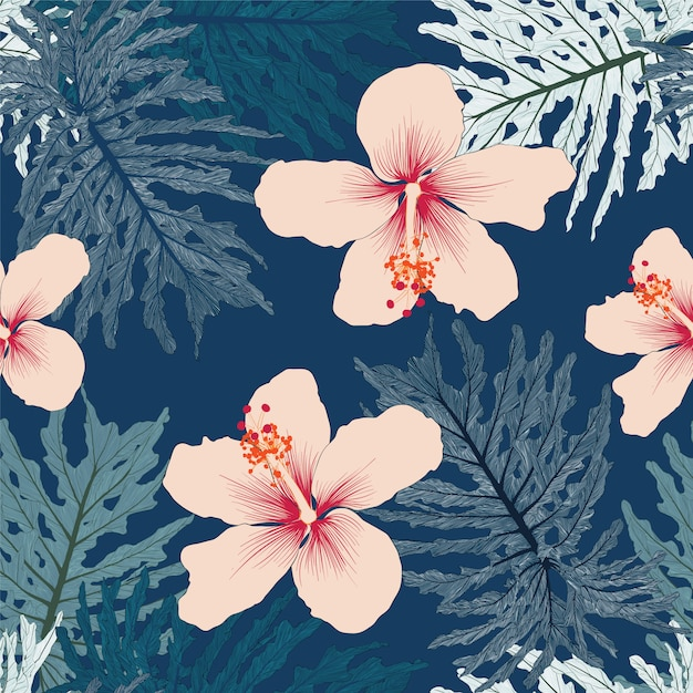 Seamless floral pattern green palm monstera leaves and pink color hibiscus flowers Premium Vector