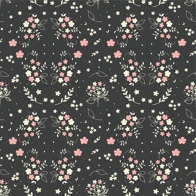 Seamless Floral Pattern Hand Drawn Small White Silhouette Flowers In