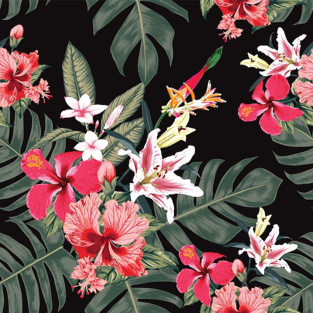 Seamless floral pattern hibiscus,frangipani and lily flowers abstract background. Premium Vector
