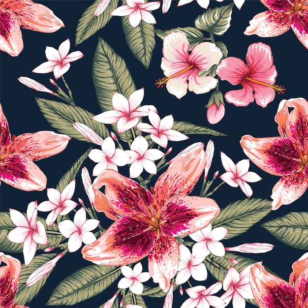 Seamless floral pattern hibiscus, frangipani and lily flowers background. Premium Vector