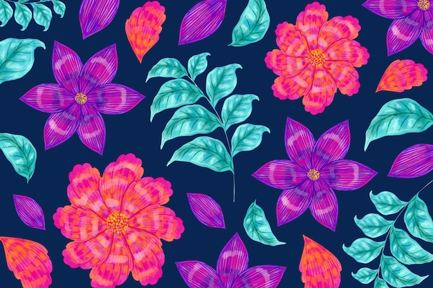 Seamless floral pattern and leaves Free Vector
