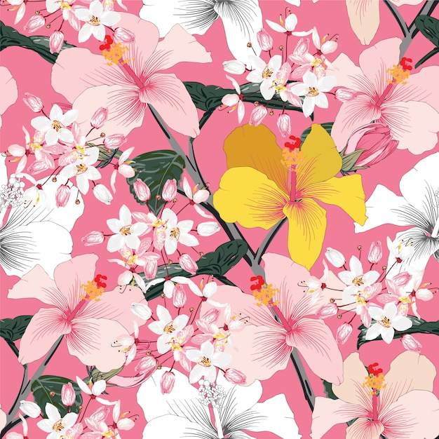 Seamless floral pattern pink pastel color hibiscus flowers on pink pastel abstract background Premium Vector