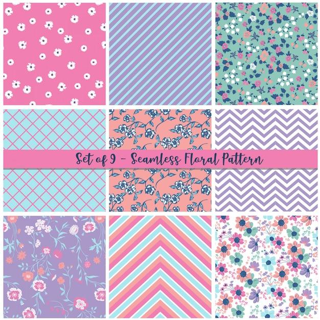 Seamless floral pattern set Premium Vector