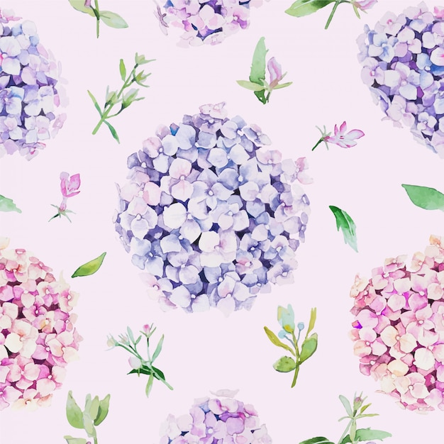 Seamless floral pattern. water color style, hydrangea flower. Premium Vector