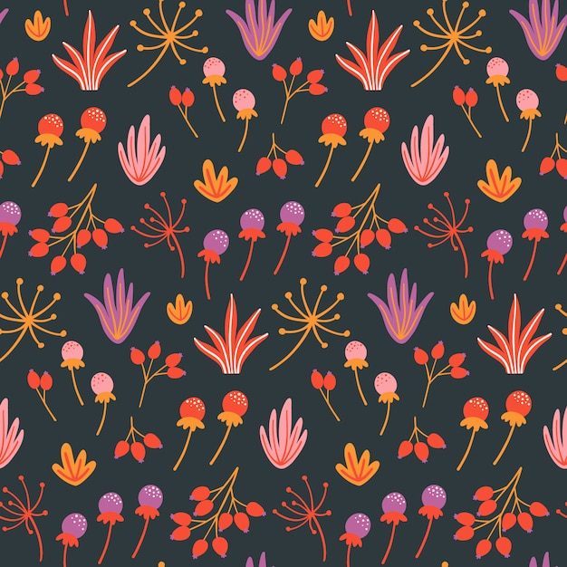 Seamless floral pattern with flowers, leaves and herbs. Premium Vector