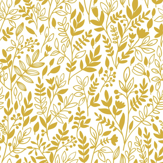 Seamless floral pattern with golden twigs Premium Vector