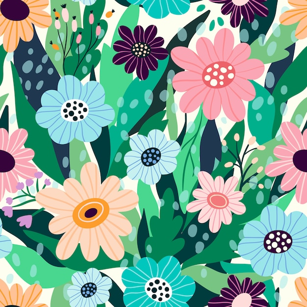 Seamless floral pattern with hand drawn flowers and leaves Premium Vector