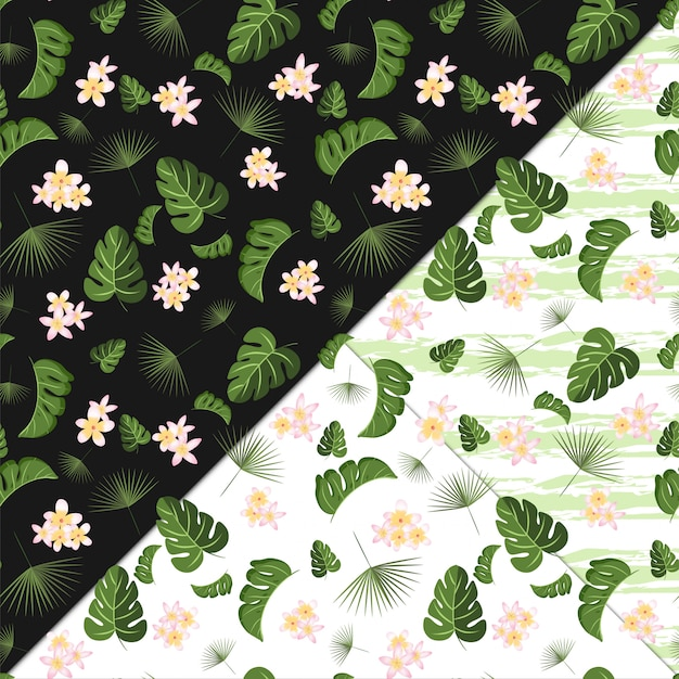 Seamless floral pattern with tropical flowers and foliage Premium Vector