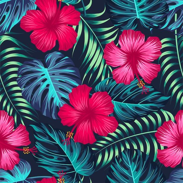 Бесшовный цветочный узор с тропическими листьями, тропический фон Premium векторы