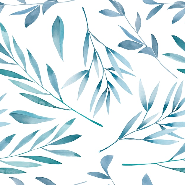 Seamless floral pattern with watercolor blue branches Premium Vector