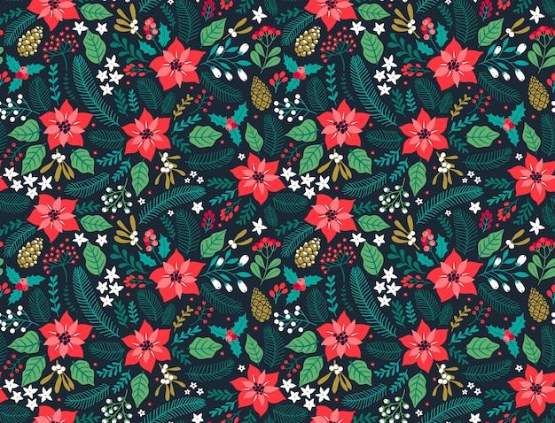 겨울 식물을 가진 완벽 한 꽃 패턴입니다. 겨울 꽃 배경입니다. 파란색 배경에 크리스마스 꽃 요소와 화려한 패턴입니다. 크리스마스와 새해 패션 인쇄 휴일 디자인. 프리미엄 벡터