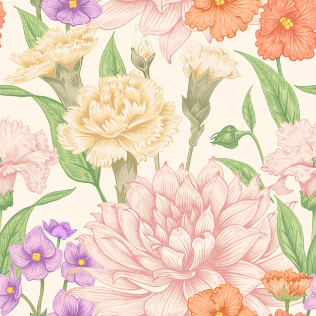 Seamless floral pattern. Premium Vector