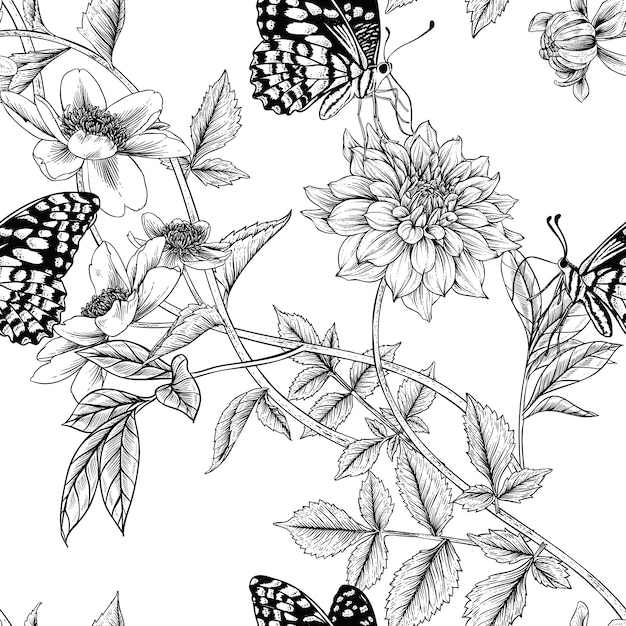 Seamless floral pattern Premium Vector