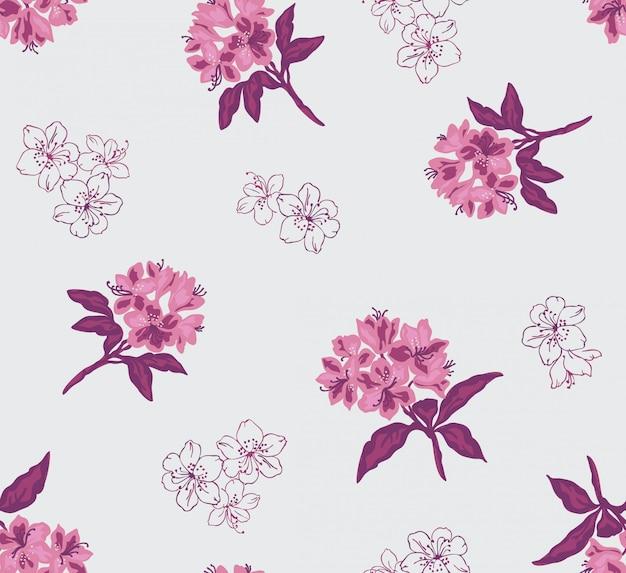 ベクトルの花とシームレスな花pattren。 Premiumベクター