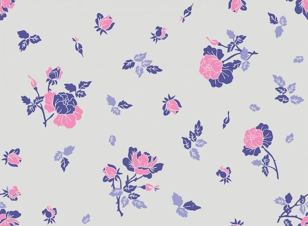 Seamless floral pattren with flower in vector. Premium Vector