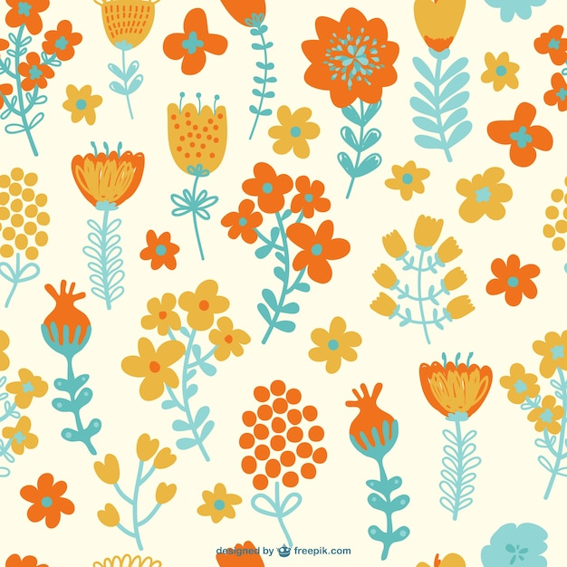 Seamless flowers pattern Free Vector