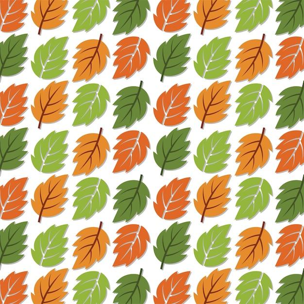 Бесшовные лесной узор осенние листья. Premium векторы