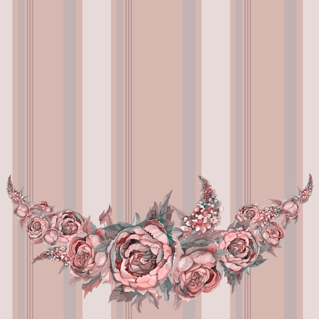 Seamless frieze pattern with watercolor flowers. Premium Vector