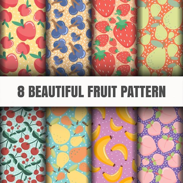 Seamless fruit pattern set. Free Vector