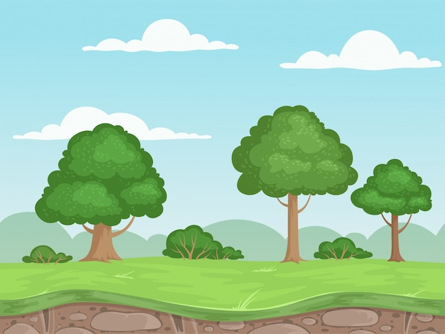 Seamless game nature landscape. parallax background for 2d game outdoor mountains trees and clouds illustrations Premium Vector