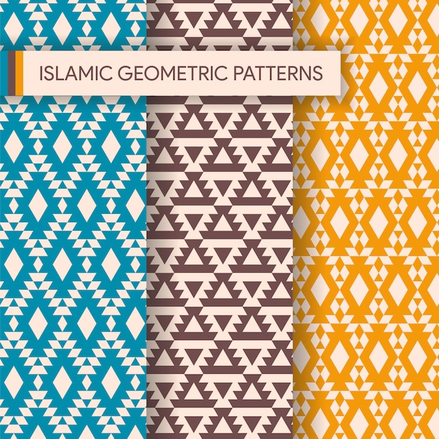 Seamless geometric backgrounds patterns collection Premium Vector
