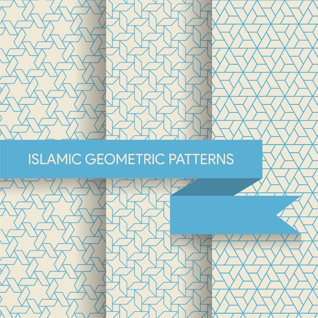Seamless geometric islamic patterns textures collection Premium Vector