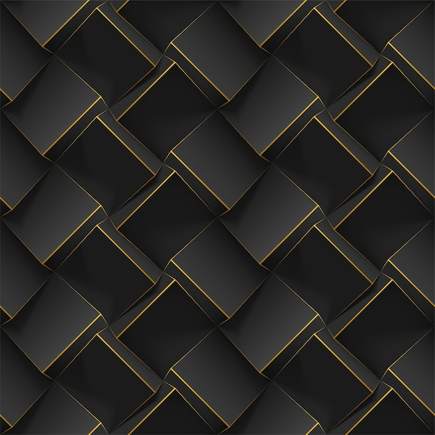 Seamless geometric pattern with realistic black 3d cubes. template for wallpapers, textile, fabric, poster, flyer, backgrounds or advertising. texture with extrude effect. Premium Vector