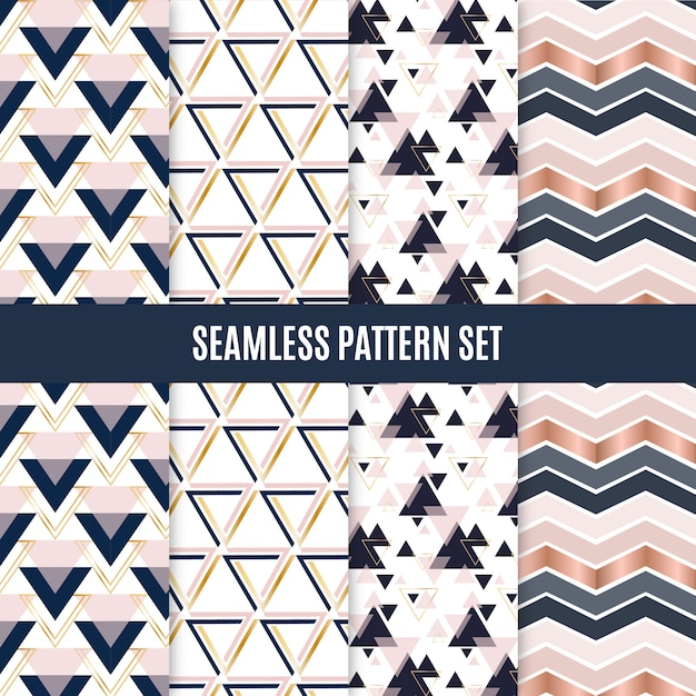 Seamless geometric scandinavian pattern set Premium Vector