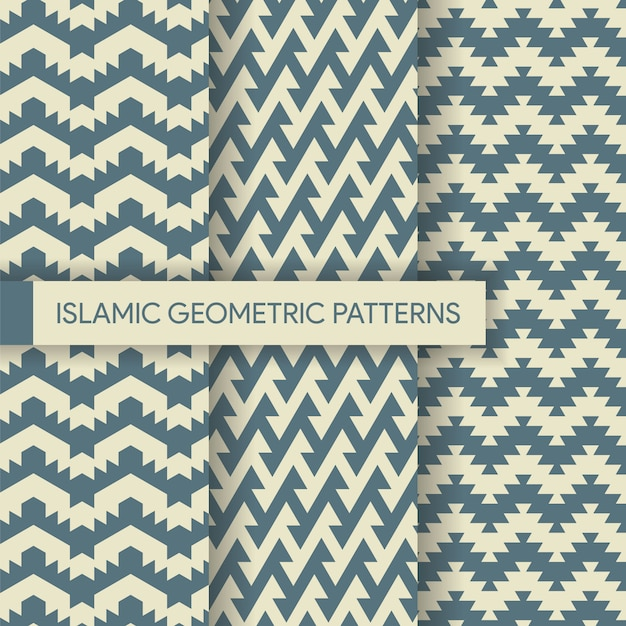 Seamless geometric textile backgrounds patterns collection Premium Vector