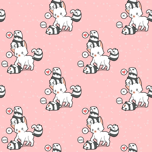 Seamless giant cat and small pandas pattern Premium Vector
