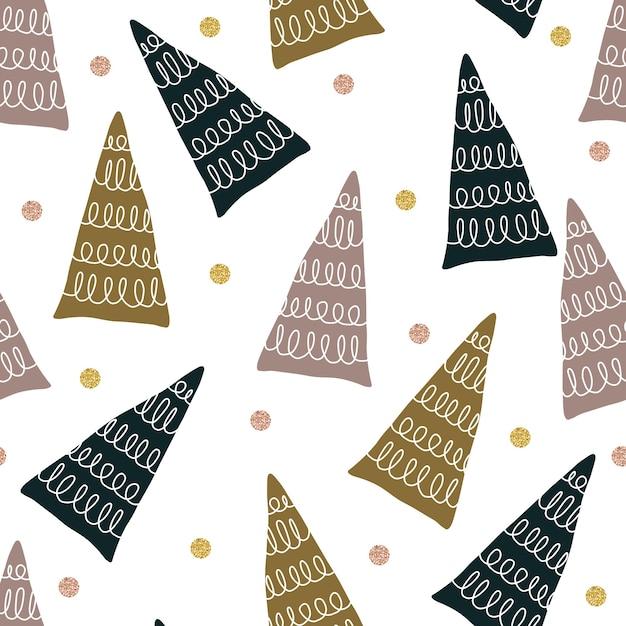 マルチカラーの松の木とドットの形をしたシームレスなキラキラクリスマスパターン Premiumベクター