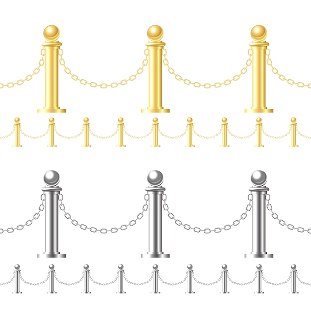 Seamless gold fence and steel fence  on white Premium Vector