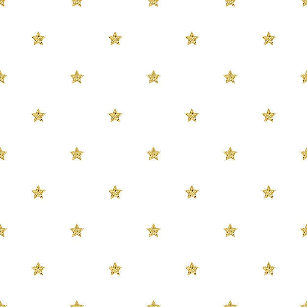 seamless gold glitter star pattern on white background