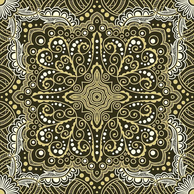 黒の背景にスパイラル、渦巻き、チェーンのシームレスなゴールドパターン Premiumベクター