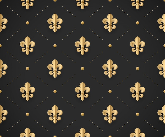 Seamless gold pattern with fleur-de-lys on a dark black background. vector illustration. Premium Vector