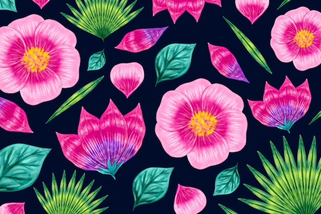 Seamless gradient pink floral pattern Free Vector