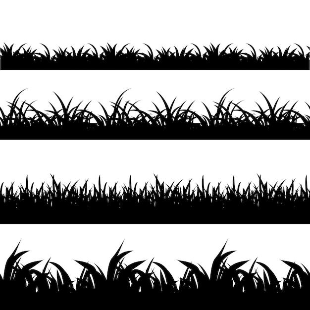シームレスな草黒シルエットベクトルセット。風景自然、植物、フィールドのモノクロイラスト 無料ベクター