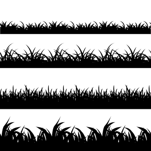 Seamless grass black silhouette vector set. landscape nature, plant and field monochrome illustration Free Vector