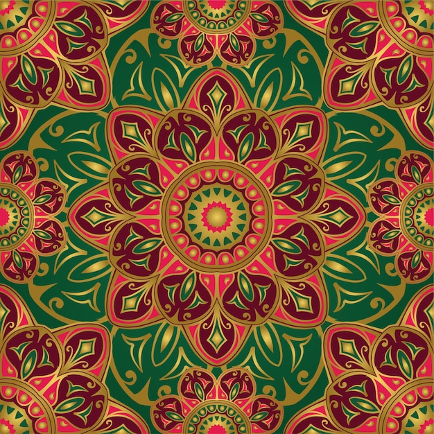 Seamless green and pink pattern with mandalas. Premium Vector