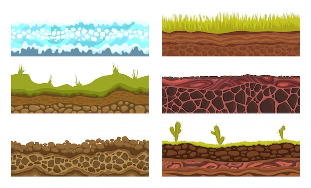 Seamless grounds, soils and land vector set for ui games Premium Vector