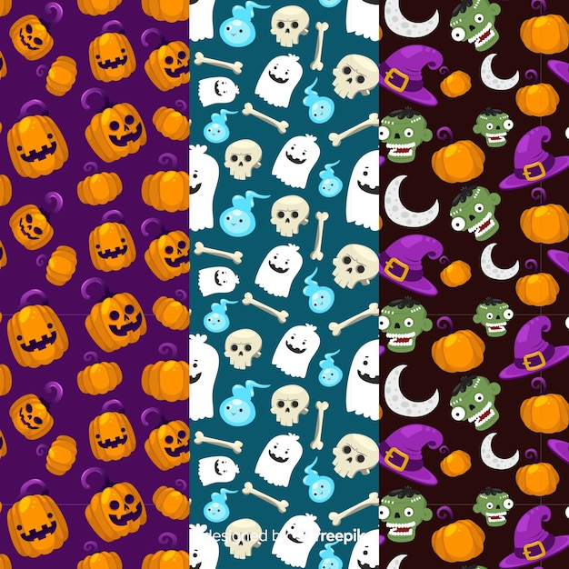 Seamless halloween cute pattern collection Free Vector