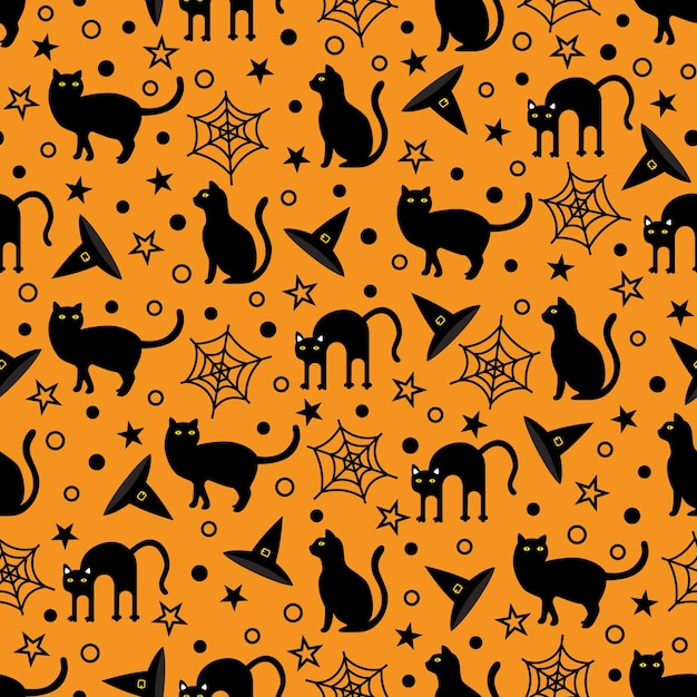 Seamless halloween festival vector pattern Premium Vector