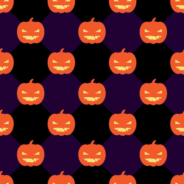 Seamless halloween pattern background with pumpkins Premium Vector
