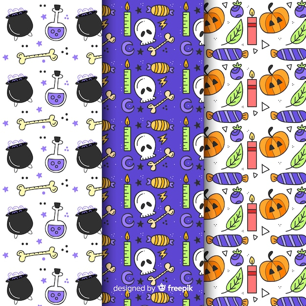 Seamless halloween pattern collection Free Vector