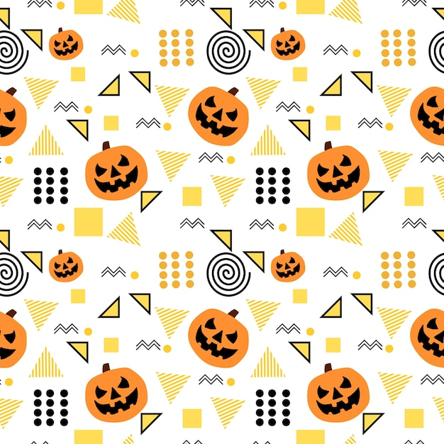 seamless halloween pattern with trendy memphis geometric premium vector