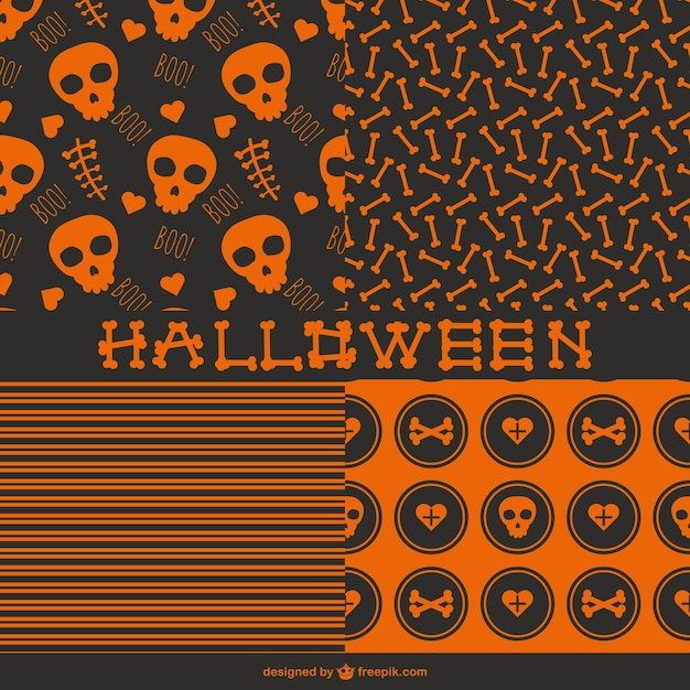 seamless halloween patterns free vector
