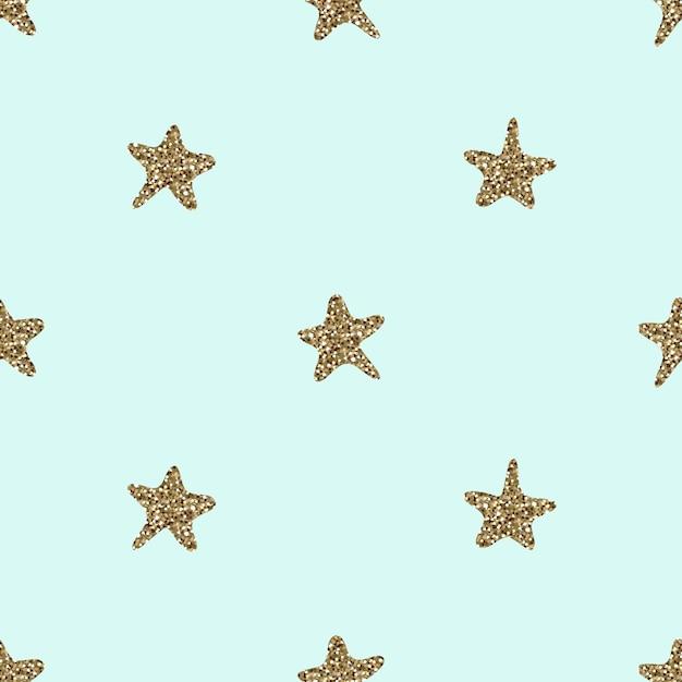 Seamless hand draw gold glitter star shape pattern