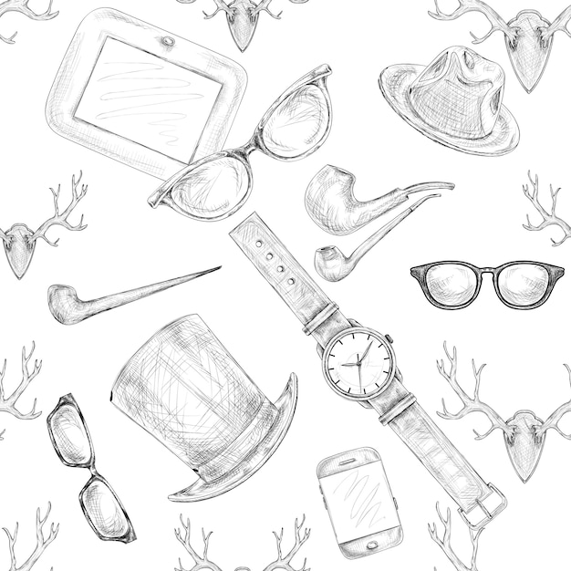 Seamless hand drawn hipster accessories pattern Free Vector