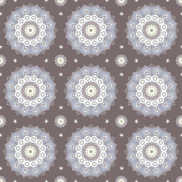 Бесшовные ручной обращается шаблон мандалы для печати на ткани или бумаге. винтажные декоративные элементы в восточном стиле. ислам, арабские, индийские, турецкие, османские мотивы. Premium векторы